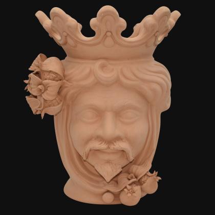 Ceramic Head with lemons h 40 terracotta female