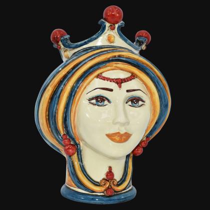 Testa h 30 in blu e arancio donna - Modern Moorish heads Sofia Ceramiche
