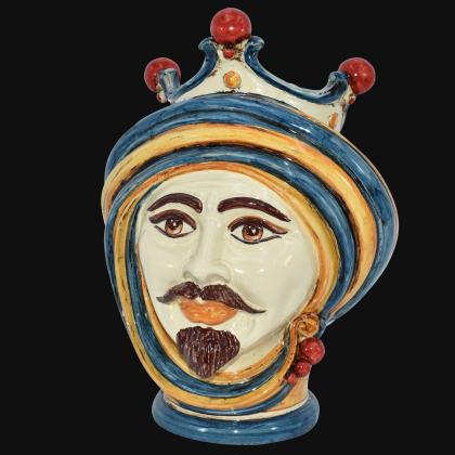 Testa h 30 in blu e arancio maschio bianco - Modern Moorish heads Sofia Ceramiche