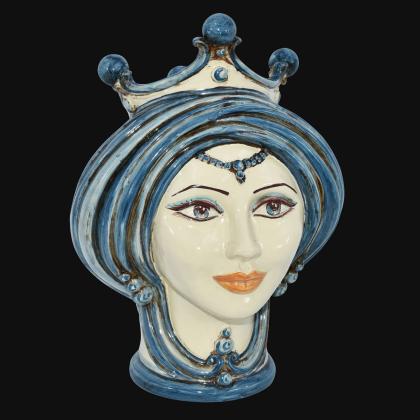 Testa h 30 in mono blu donna - Modern Moorish heads Sofia Ceramiche