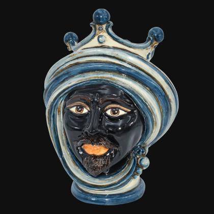 Testa h 30 in mono blu maschio moro - Modern Moorish heads Sofia Ceramiche