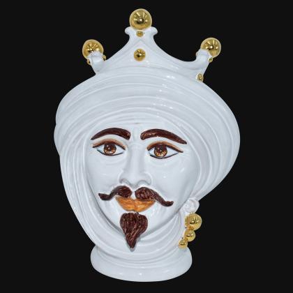 Testa h 30 White and Gold uomo - Modern Moorish heads Sofia Ceramiche