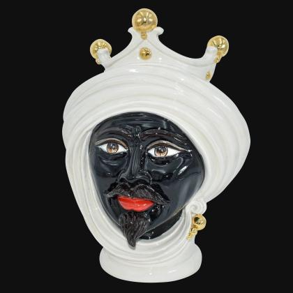 Testa h 30 Madreperla e oro uomo - Teste di moro moderne Sofia Ceramiche