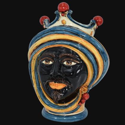Testa h 30 in blu e arancio maschio - Modern Moorish heads Sofia Ceramiche