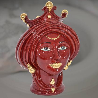 Testa h 30 Bordeaux e oro donna - Modern Moorish heads Sofia Ceramiche