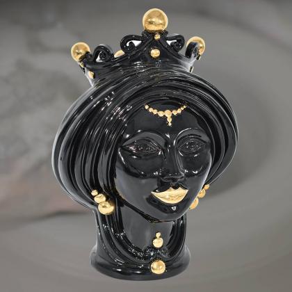 Testa h 30 Black and Gold donna - Modern Moorish heads Sofia Ceramiche