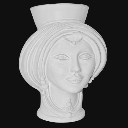 Testa h 30 White Line donna - Modern Moorish heads Sofia Ceramiche