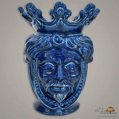 Testa h 40 con perline blu integrale maschio - Ceramiche moderne Vaso a testa