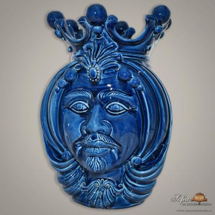 Testa h 38 blu integrale maschio - Teste di moro moderne Sofia Ceramiche