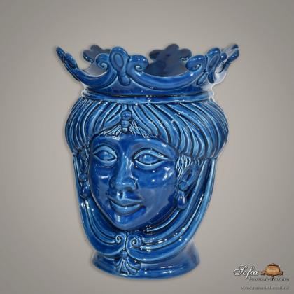 Testa h 25 liscia blu integrale femmina - Ceramiche moderne Vaso a testa