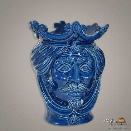 Testa h 25 liscia blu integrale maschio - Ceramiche moderne Vaso a testa