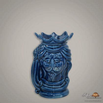 Testa h 15 con limoni blu integrale maschio - Ceramiche moderne Vaso a testa