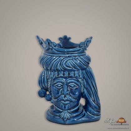Testa h 20 liscia blu integrale maschio - Ceramiche moderne Vaso a testa