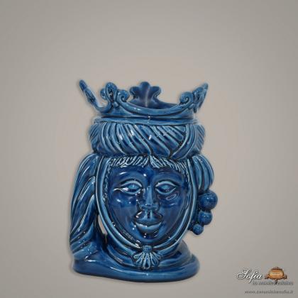 Testa h 20 liscia blu integrale femmina - Ceramiche moderne Vaso a testa
