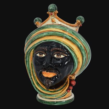 Moor Head Vase h 30 Green and Orange - Modern Moorish heads Sofia Ceramiche