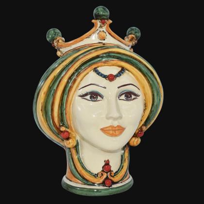 Testa di moro h 30 in verde e arancio donna in Ceramica di Caltagirone