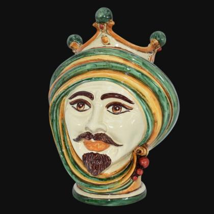 Testa di Moro h 30 in verde e arancio maschio moro in Ceramica di Caltagirone