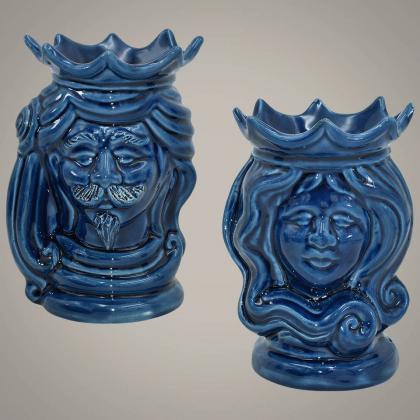 Coppia di Testa h 15 blu integrale - Ceramiche moderne Vaso a testa