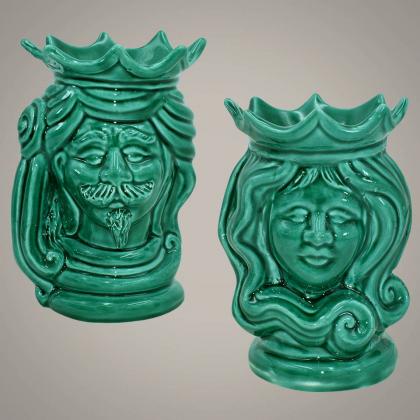 Coppia di Testa h 15 verde integrale - Ceramiche moderne Vaso a testa