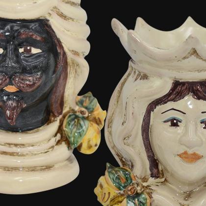 Pair of moor's heads h 15 cm in caltagirone ceramic