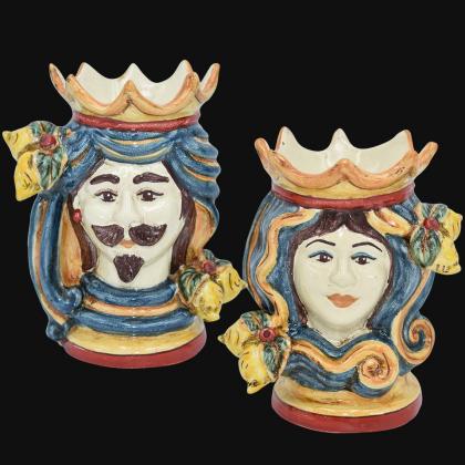 copy of Pair of moor's heads h 15 cm in caltagirone ceramic