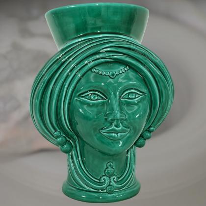 Testa h 30 Integral Green woman - Modern Moorish heads Sofia Ceramiche