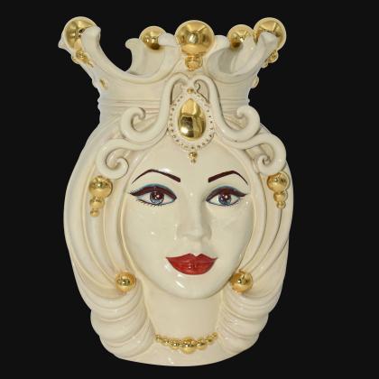 Ceramic Head of Sicily h 38 Ivory Line female - Sofia Ceramiche artistic Ceramics