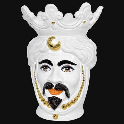 Testa h 40 perline white gold con espressione maschio bianco labbra arancio