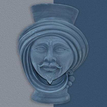 Testa h 30 Matt Blue maschio - Modern Moorish heads Sofia Ceramiche