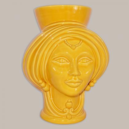 Testa h 30 Yellow donna - Modern Moorish heads Sofia Ceramiche