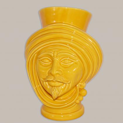 Testa h 30 Yellow uomo - Modern Moorish heads Sofia Ceramiche