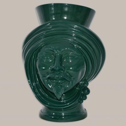Testa h 30 Verde Bottiglia Uomo - Teste di moro moderne Sofia Ceramiche