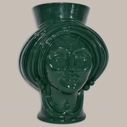 Testa h 30 Verde Bottiglia Donna - Teste di moro moderne Sofia Ceramiche