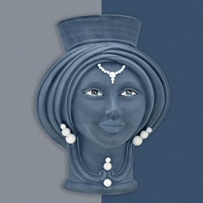 Testa h 30 Matt Blue donna - Modern Moorish heads Sofia Ceramiche