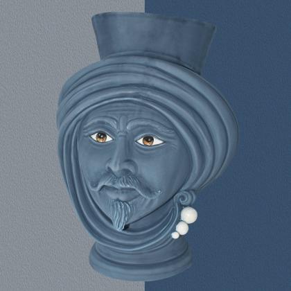 Testa h 30 Blu Opaco con perline madreperla Uomo - Teste di moro moderne Sofia Ceramiche