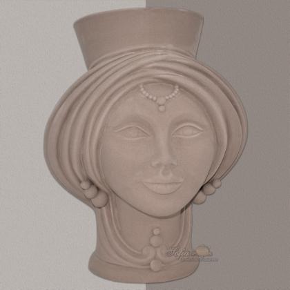 Testa h 30 Matt dove gray woman - Modern Moorish heads Sofia Ceramiche