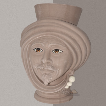 Testa h 30 Tortora Opaco con perline madreperla Uomo - Teste di moro moderne Sofia Ceramiche