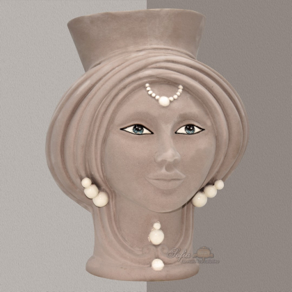 Testa h 30 Tortora Opaco con perline madreperla Donna - Teste di moro moderne Sofia Ceramiche