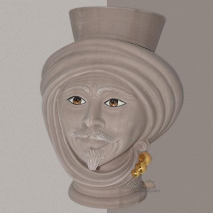 Testa h 30 Tortora Opaco con perline oro zecchino maschio - Teste di moro moderne Sofia Ceramiche