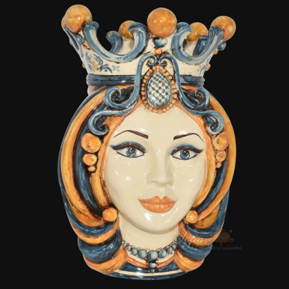 Testa h 38 in blu e arancio femmina - Ceramiche Di Caltagirone Sofia