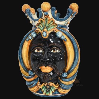 Testa h 38 in blu arancio maschio moro - Ceramiche Di Caltagirone Sofia