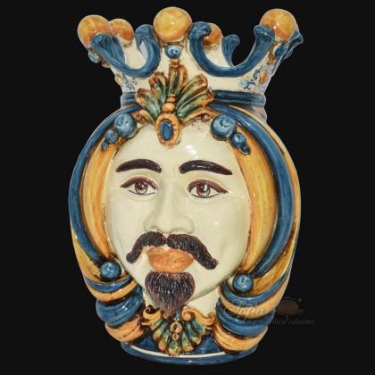 Testa h 38 in blu e arancio maschio bianco - Ceramiche Di Caltagirone Sofia