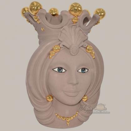 Ceramic moor's Head h 38 matt dove - Modern Moorish heads Sofia Ceramiche
