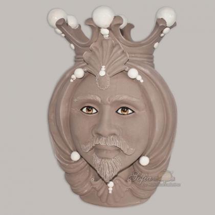 Ceramic moor's Head h 38 matt  - Modern Moorish heads Sofia Ceramiche