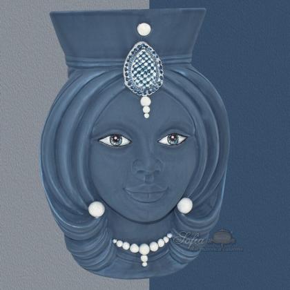 Ceramic moor's Head h 38 integral blue - Modern Moorish heads Sofia Ceramiche