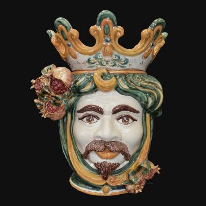 Ceramic Head with pomegranate h 40 green/orange male