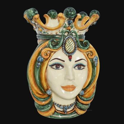 Testa h 38 in verde e arancio femmina - Ceramiche Di Caltagirone Sofia