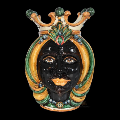 Testa h 38 in verde e arancio maschio moro - Ceramiche Di Caltagirone Sofia