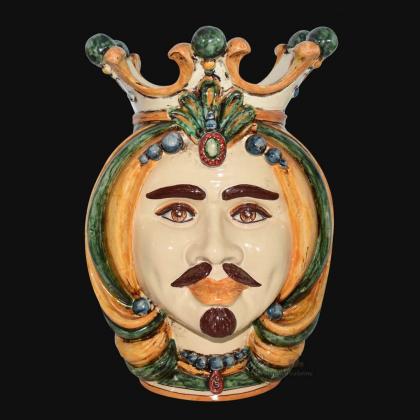Testa h 38 in verde e arancio maschio bianco - Ceramiche Di Caltagirone Sofia
