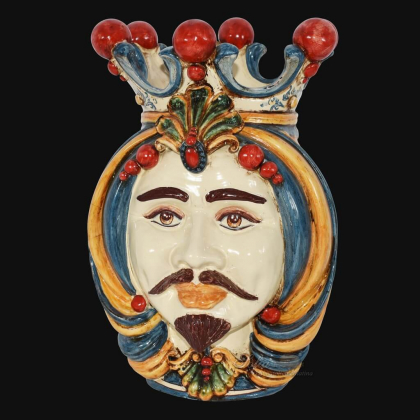 Ceramic Head of Sicily h 38 blu and orange male - Sofia Ceramiche artistic Ceramics